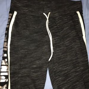 Grey, white, and silver Pink sweatpants